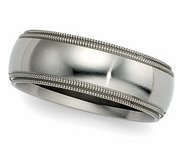 14k White Gold 8mm Double Milgrain Wedding Band