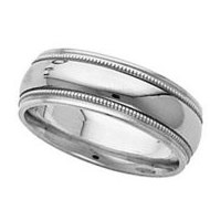 14k White Gold Satin Finish 7 5mm Wedding Band