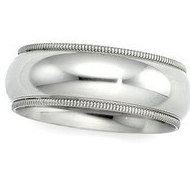14k White Gold 6mm Milgrain Wedding Band