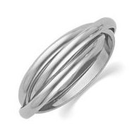 14k White Gold Polished Rolling Ring Wedding Band