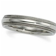 14k White Gold 4mm Double Milgrain Wedding Band