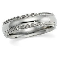 14k White Gold 6mm Double Milgrain Wedding Band