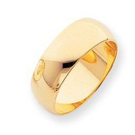 10k Yellow Gold 8mm Half Round Wedding Band