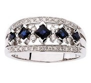 BRIDAL GENUINE SAPPHIRE DIAMOND ANNIVERSARY BAND
