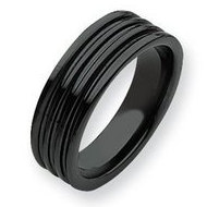 Ceramic Black Grooved 7mm Polished Band