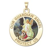 Our Guardian Angel   Round Religious Color Medal   EXCLUSIVE
