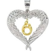 Heart Shaped Mother   Child Pendant with Angel Wings