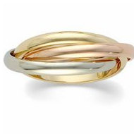 14k Tri Colored Gold Polished Rolling Ring Wedding Band