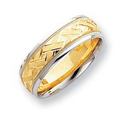 14k Two Tone 7mm Design Etched Wedding Band