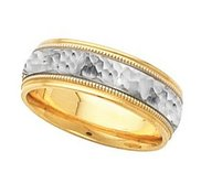14k Two Tone 6mm Domed Wedding Band