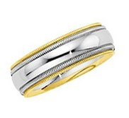 14k Two Tone 5 50mm Milgrained Edged Wedding Band