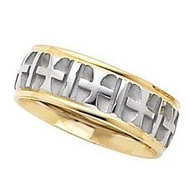 14k Two Tone 7mm Design Etched  Crosses  Wedding Band