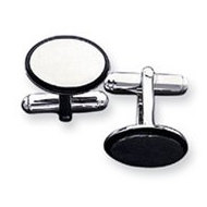 Oval Shaped Sterling Silver W/ Black Enamel Engravable Cufflinks