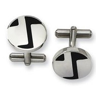 Polished Round Shaped Stainless Steel Engravable Cufflinks