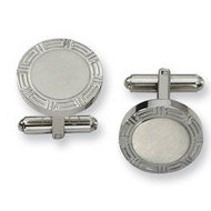 Brushed Round Shaped Stainless Steel Engravable Cufflinks