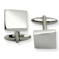Polished Skewed Square Shaped Stainless Steel Engravable Cufflinks