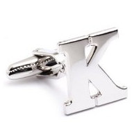 Genuine Sterling Silver Letter  K  Cufflinks