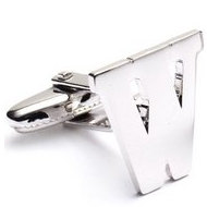 Genuine Sterling Silver Letter  W  Cufflinks