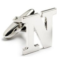 Genuine Sterling Silver Letter  N  Cufflinks