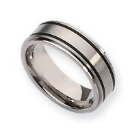Titanium Black Accent 8mm Brushed and Polished Wedding Band