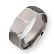 Titanium Faceted 8mm Satin Wedding Band