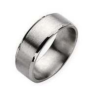 Titanium Beveled Edge 8mm Satin and Polished Band