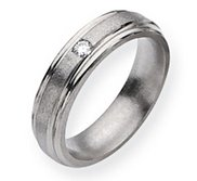 Titanium 6mm Diamond Satin and Polished Wedding Band