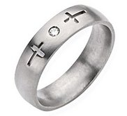 Titanium Cross 6mm Diamond Brushed Wedding Band