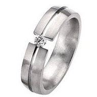 Titanium 6mm Diamond Brushed Wedding Band