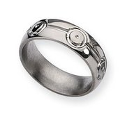 Titanium Circle Design 7mm Polished Wedding Band