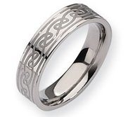 Titanium Celtic Knot 6mm Satin and Polished Wedding Band