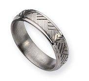 Titanium Basket Weave Design 6mm Satin and Polished Wedding Band