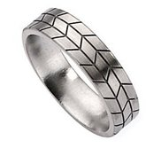 Titanium Tread Design 6mm Brushed Wedding Band