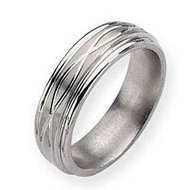 Titanium Criss cross Design 7mm Satin Wedding Band