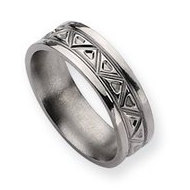 Titanium Tribal Design 7mm Polished Wedding Band
