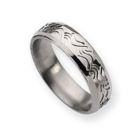 Titanium Wave Design 6mm Brushed and Polished Wedding Band