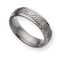 Titanium Basket Weave Design 6mm Brushed and Polished Wedding Band