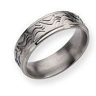 Titanium Wave Design 7mm Brushed and Polished Wedding Band