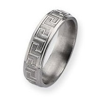 Titanium Greek Key Design 6mm Satin and Polished Wedding Band