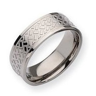 Titanium Weave Design 8mm Polished Wedding Band