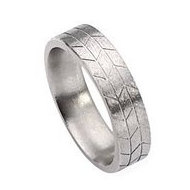 Titanium Tread Design 6mm Satin Flat Wedding Band