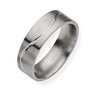 Titanium Grooved Flat 7mm Brushed and Polished Wedding Band