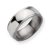 Titanium Grooved and Beaded 8mm Polished Wedding Band