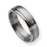 Titanium Grooved Edge 6mm Brushed and Polished Wedding Band