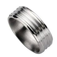 Titanium Grooved Beveled Edge 8mm Brushed and Polished Wedding Band