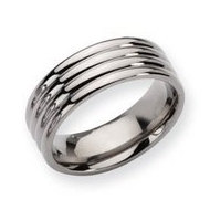 Titanium Grooved 8mm Polished Wedding Band