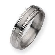 Titanium Grooved Edge 6mm Satin and Polished Wedding Band