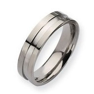 Titanium Grooved 6mm Polished Wedding Band