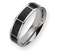 Titanium Enameled Flat 6mm Polished Wedding Band Wedding Band
