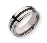 Titanium Enameled Ridged Edge 8mm Polished Wedding Band